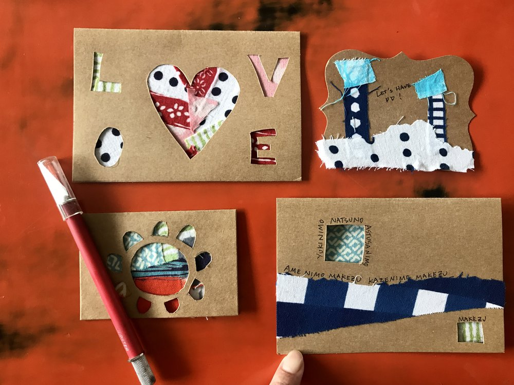 No warashi-ko textile go waste: mini card making workshop
