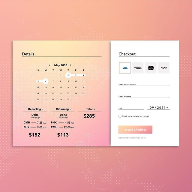 Every Friday at work, my team does a 20-minute design exercise. This past Friday we had to design a flight checkout page. Here's what I came up with!