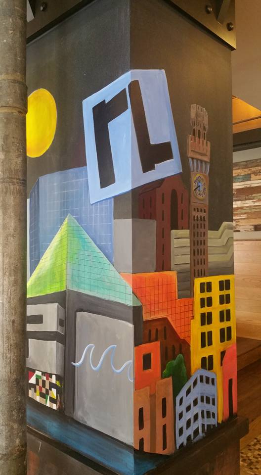 May 2016 commission to paint the columns in the lobby of Hotel RL in Baltimore. The previous year, their opening included some chalk designs.