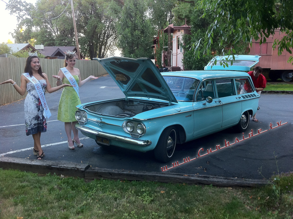 The engine's in the back of the 1961 Corvair Lakewood wagon