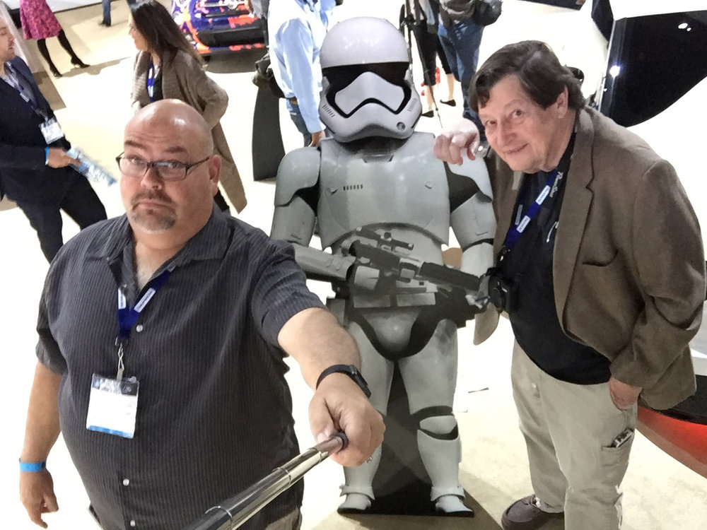 Will Owen (Far Right) tolerates Tony Barthel's illegal selfie stick usage while a storm trooper takes notice
