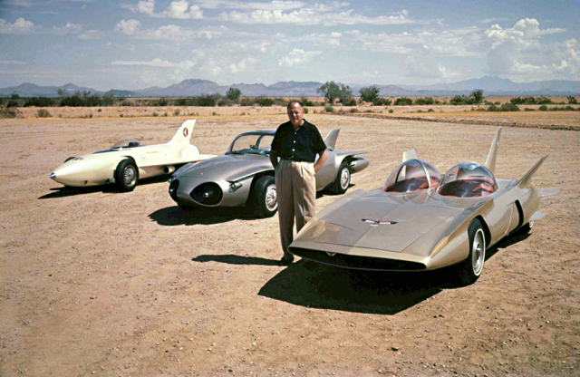 Legendary GM designer Harley Earl with Firebirds I-III