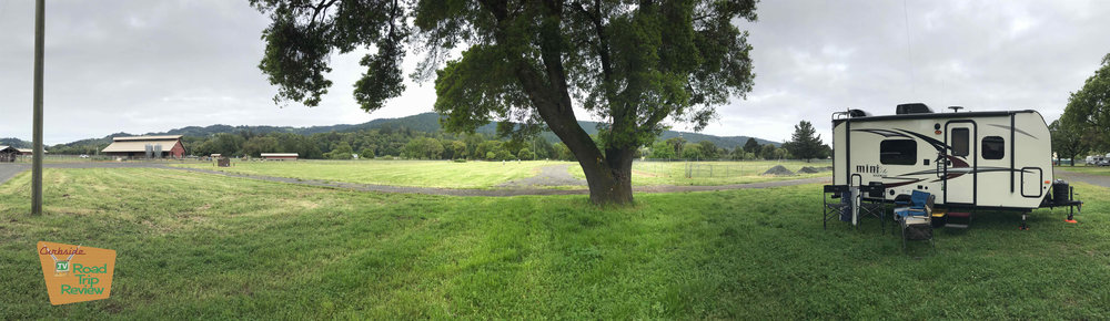 Our campsite next to Pennyroyal Farm in the Mendocino County Fairgrounds