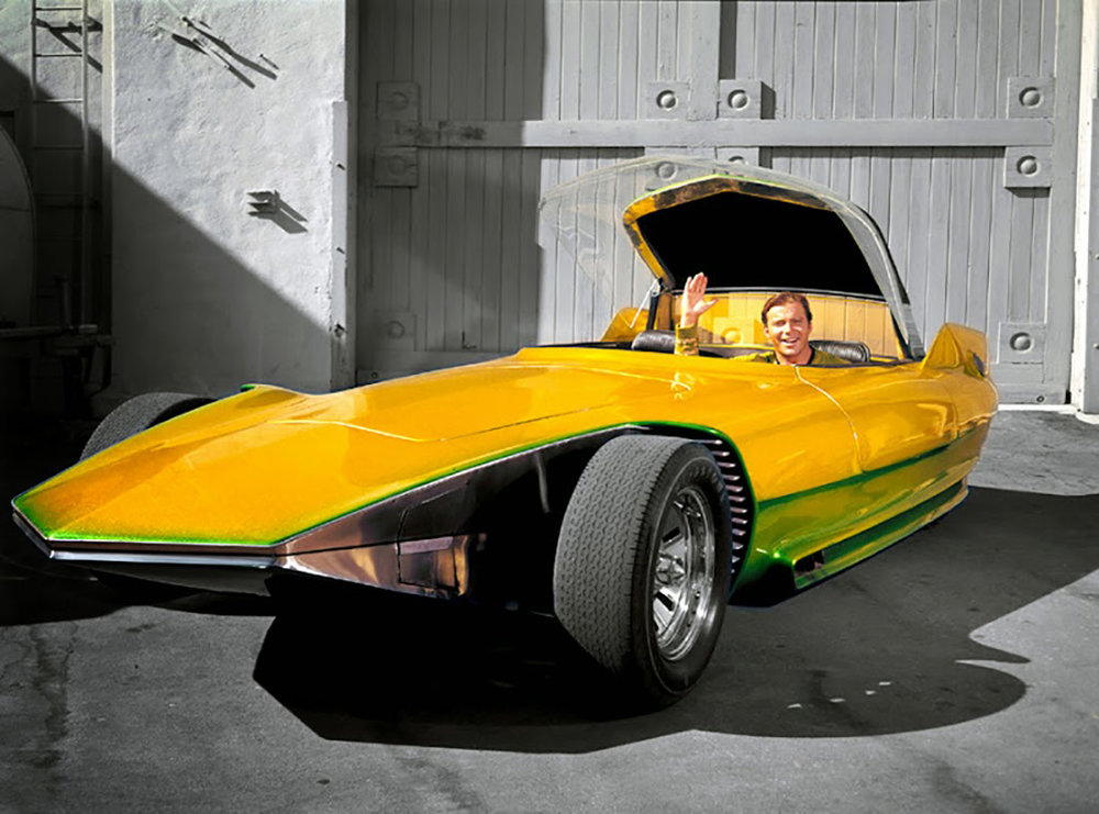 "Actor William Shatner poses in Gene Winfield's ""Reactor"" kustom"