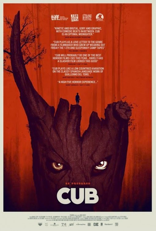 FANTASTIC CINEMA NIGHTCAP    CUB  - 85 mins - Horror, Belgium  Directed by Jonas Govaerts  ARKANSAS PREMIERE  Synopsis:  CUB is a horror adventure in which a young imaginative twelve-year-old boy named Sam heads off to camp with his Cub Scouts pack, leaders Peter and Chris and quartermaster Yasmin. Once they enter the woods, Sam quickly feels something is not quite right. He soon stumbles upon a mysterious tree house and meets a shifty, masked feral-looking child. When Sam tries to warn his leaders, they ignore him: the boy often tells tall tales and Sam's mysterious past which he refuses to talk about makes his leader Peter mistrust him. As Sam gets more and more isolated from the other scouts, he becomes convinced a terrible fate awaits them: the Feral Child, it turns out, is the helper of the Poacher, an evil psychopath, who has riddled the forest with ingenious traps and is intent on slaughtering the scouts… one by one…    Facebook
