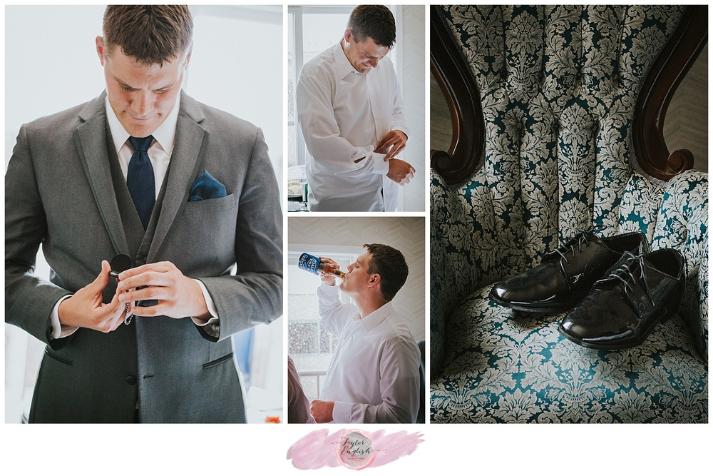 Dapper groom complete with snazzy details and a pocket watch