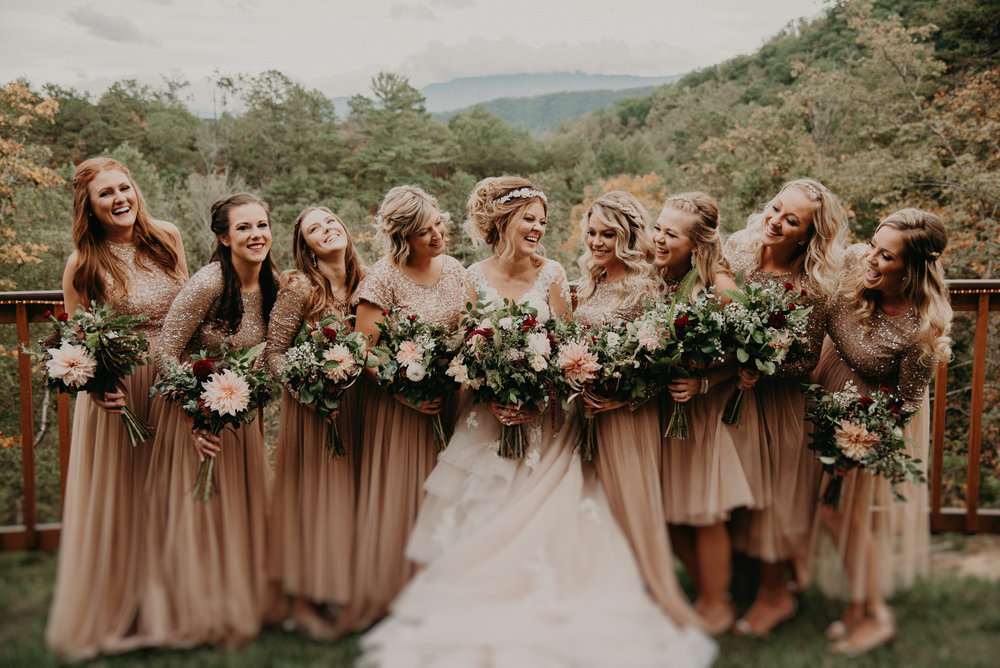 Bridesmaids and Bride Laughing at Parkside Resort in Smoky Mountains Tennessee