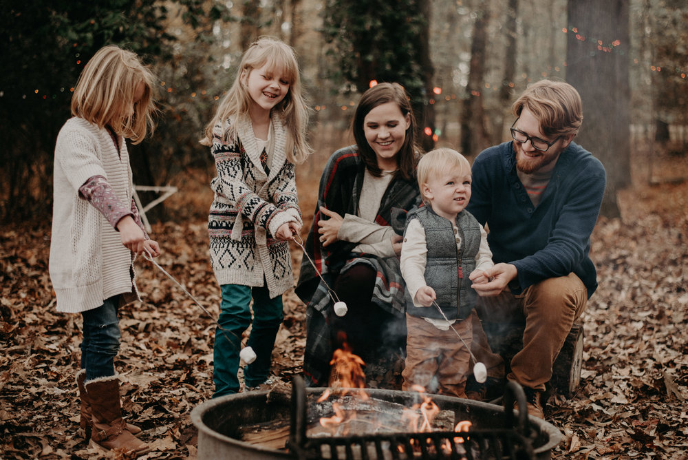Family lifestyle session roasting s'mores