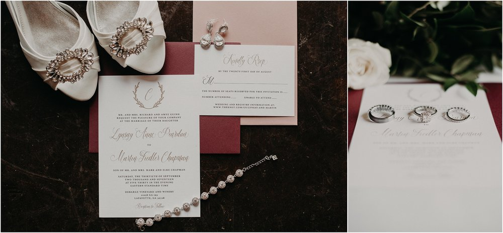 Timeless and classic wedding details and stationary at winery wedding