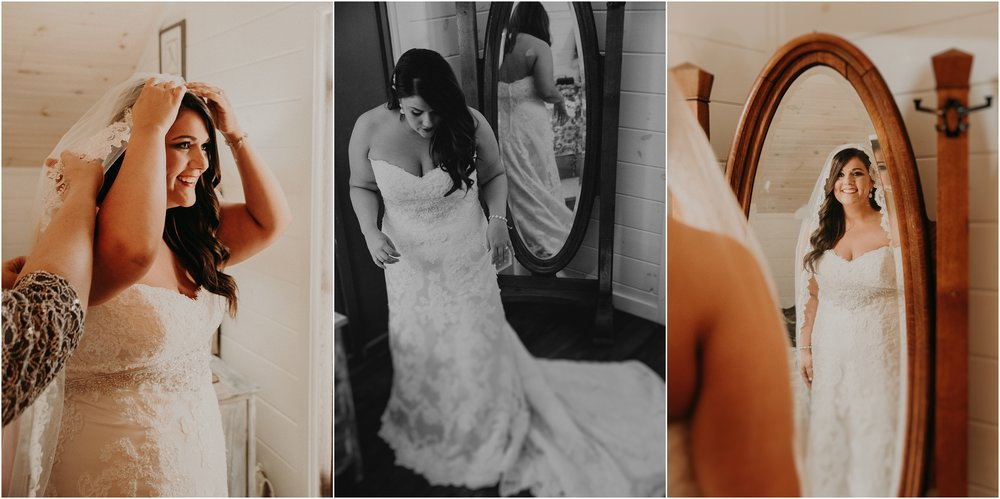 Bride dons her wedding gown in bridal suite at Debarge Winery