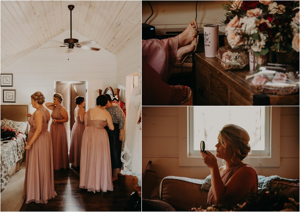 Bridesmaids hang out together before wedding ceremony