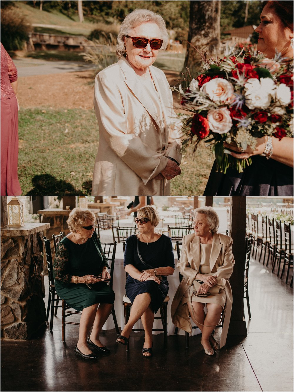 Grandmothers of bride and groom sit together in the shade