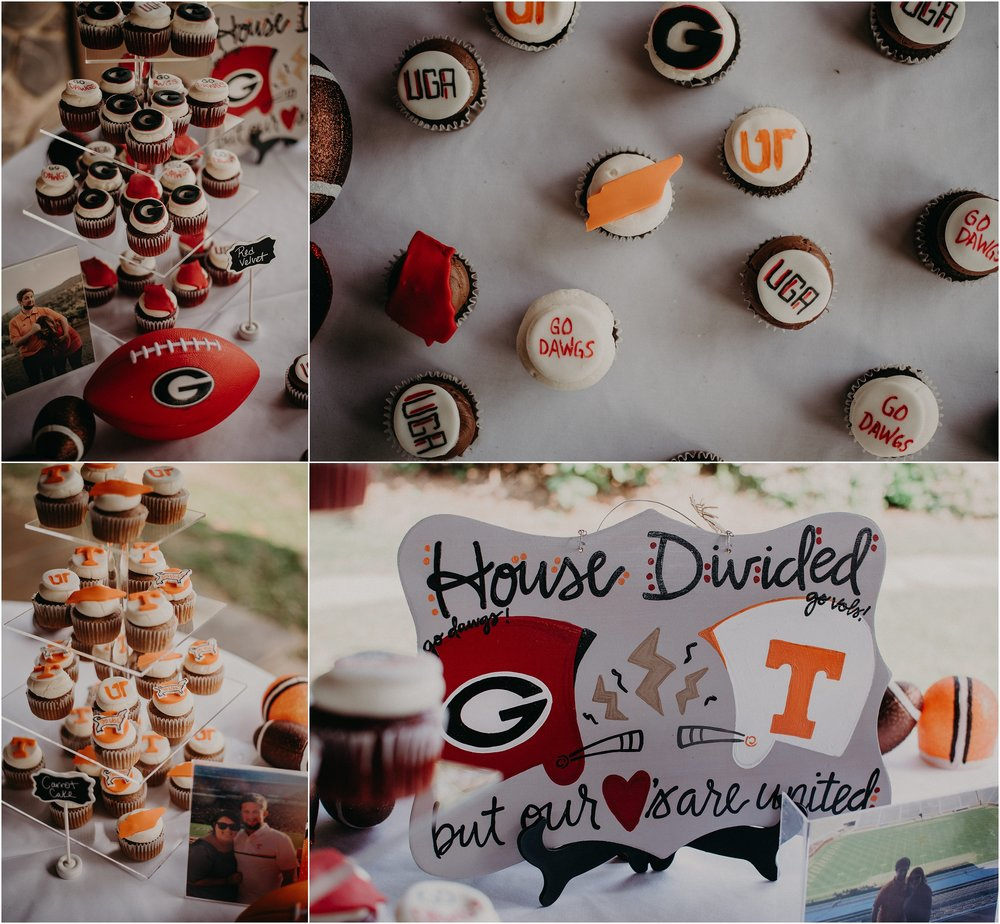 Football inspired wedding decor and cupcakes