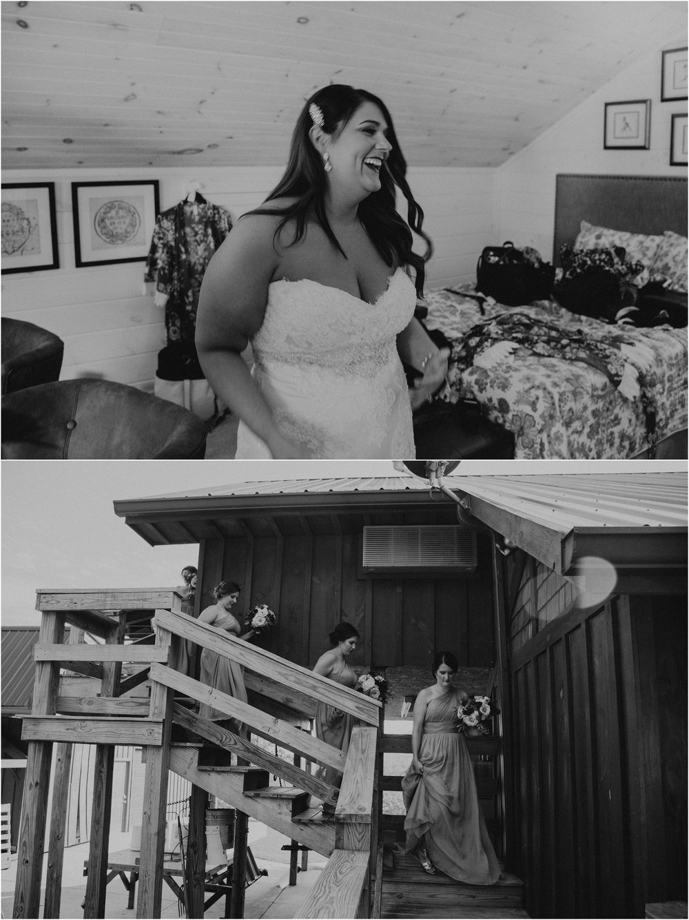 Bride laughs with excitement before heading down the stairs to the wedding ceremony