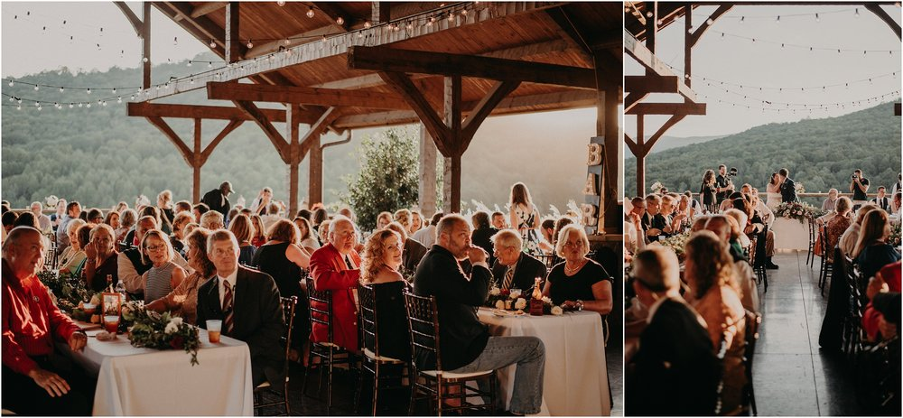 Outdoor reception at sunset at Debarge Winery