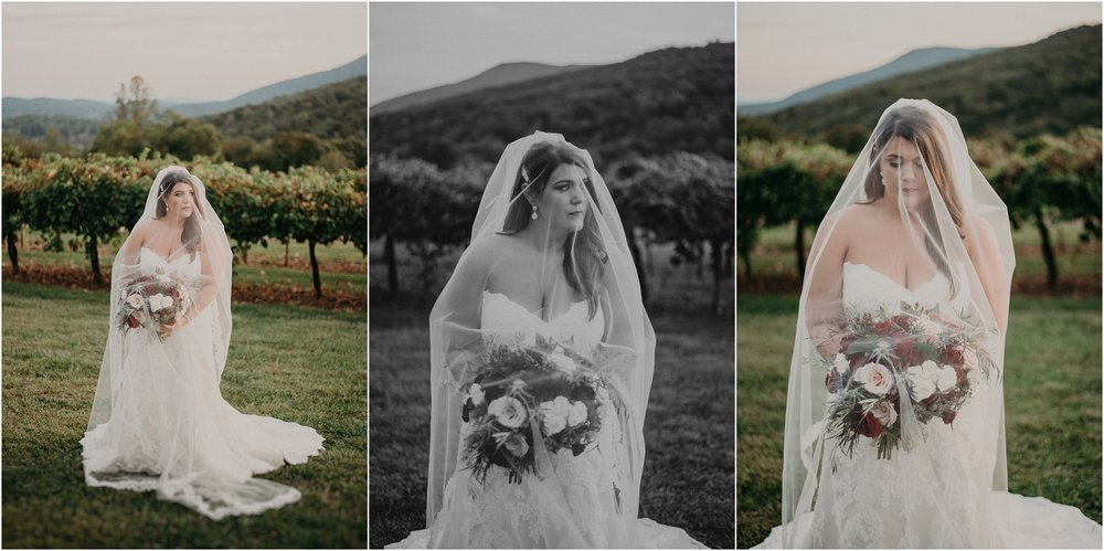 Bride stands beneath her wedding veil in front of vineyards at Debarge Winery in Lafayette, Georgia