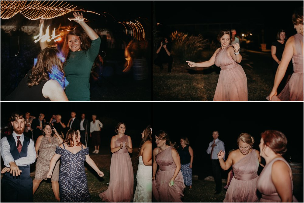 Guests dance the night away at wedding reception