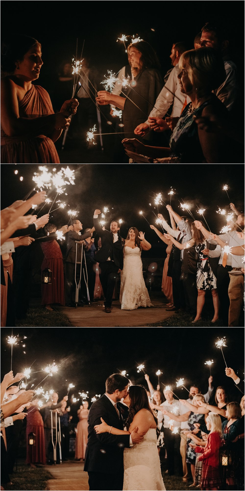 Bride and groom make a sparkler exit to end their wedding day