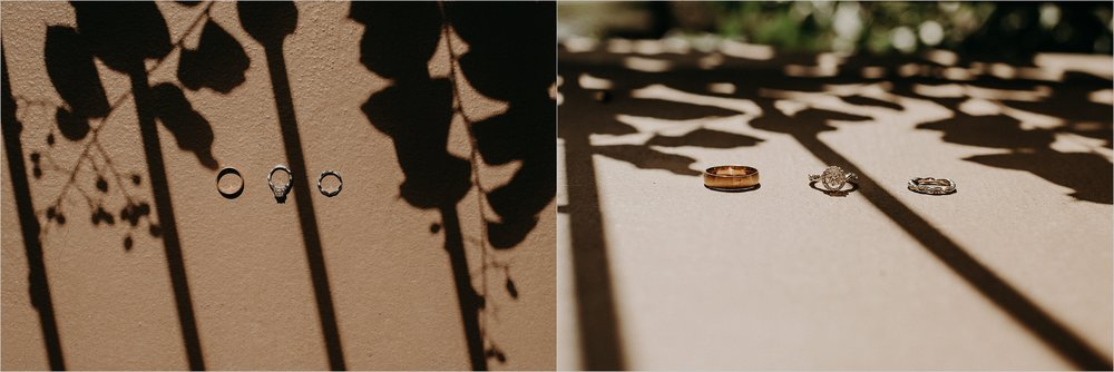 Wedding bands in shadows and light