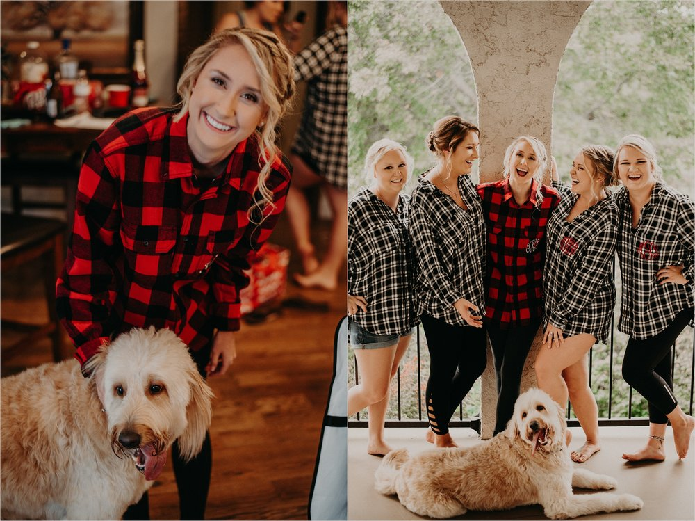 Bride with her goldendoodle and bridesmaids before ceremony