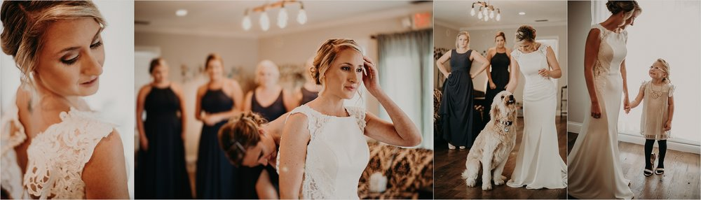 Bride gets ready with her family and bridesmaids at Tennessee Riverplace