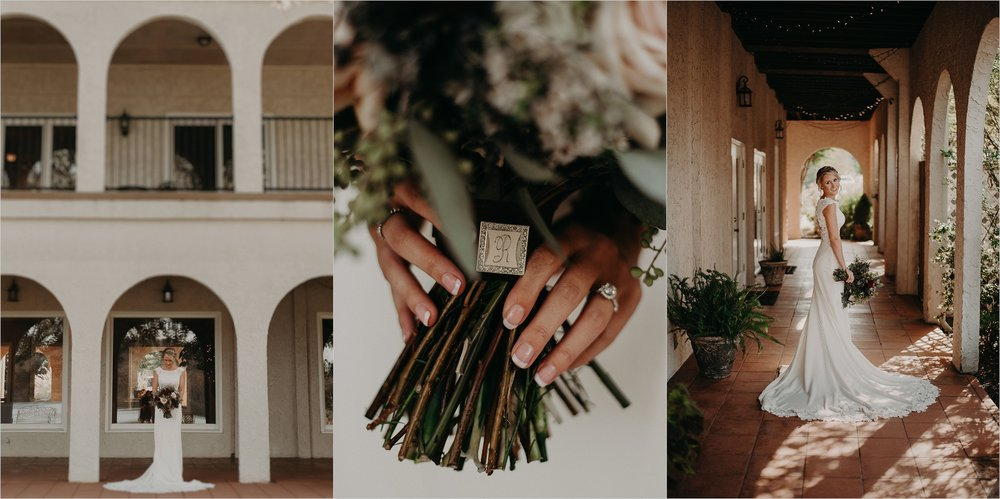 Bridal portraits in arches of villa at Tennessee Riverplace