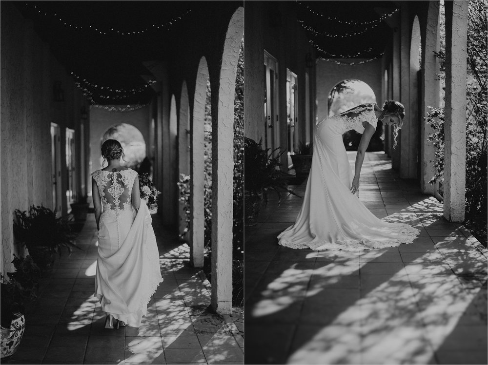 Black and white images of bride in her wedding dress at Tennessee Riverplace