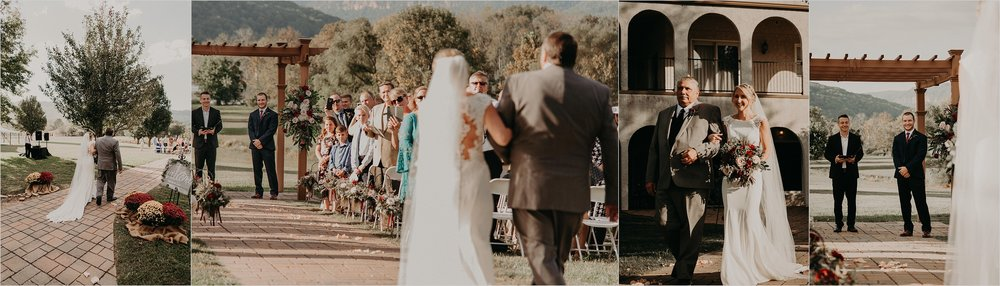 Bride walks down aisle to see her groom for the first time at altar