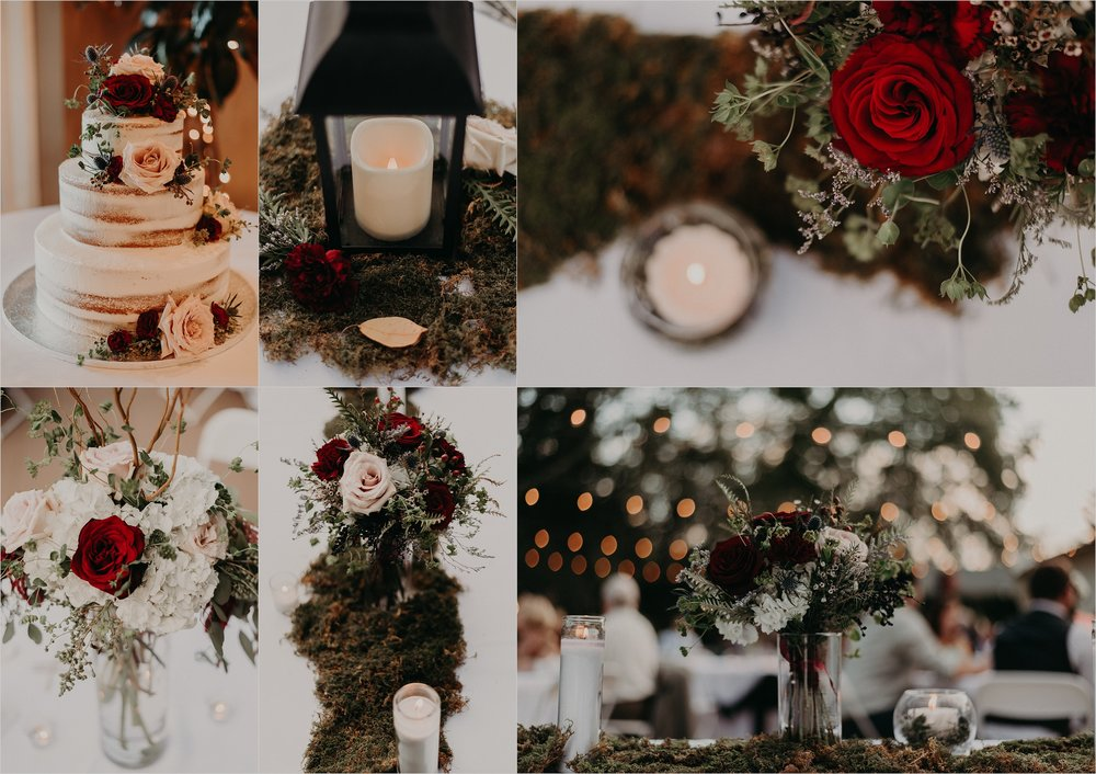 Moss and greenery with roses and candle light inspired wedding decor