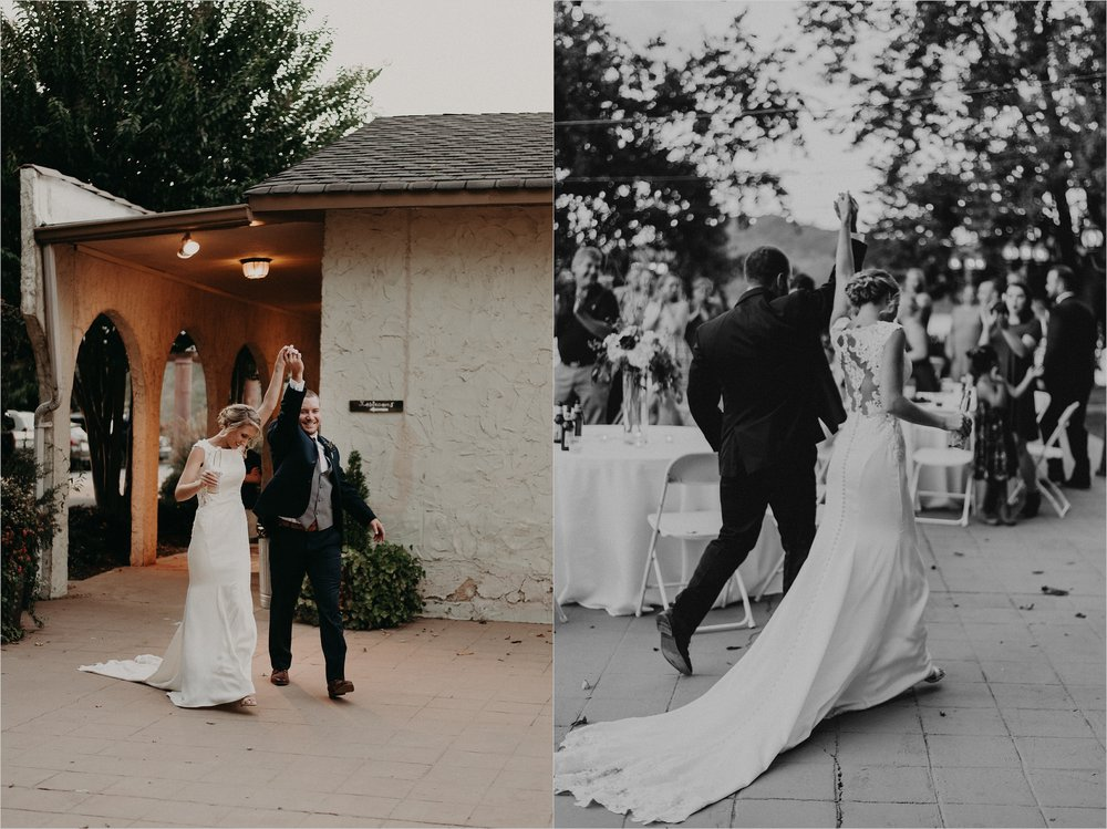 Bride and groom make reception entrance on the patio at Tennessee Riverplace
