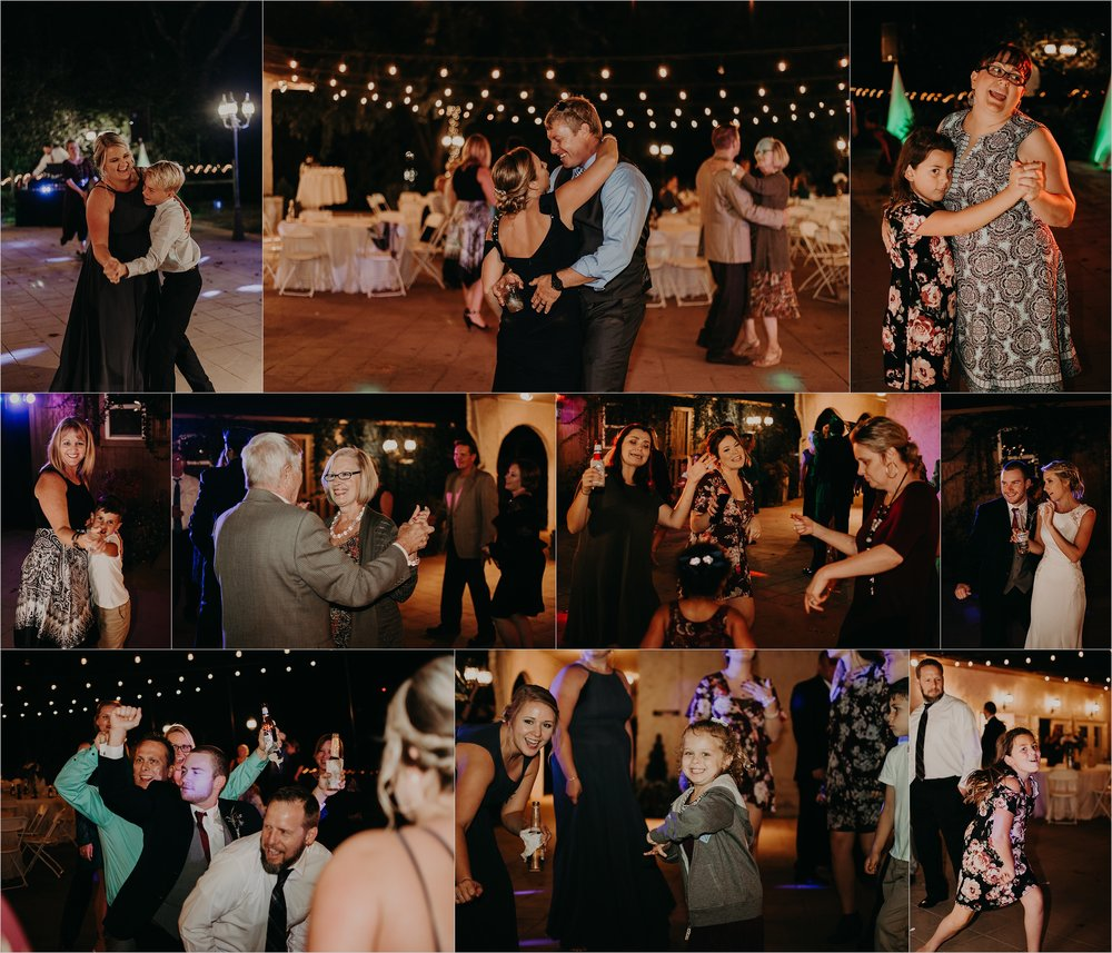 Guests enjoy the festivities at the wedding reception outside at the Tennessee Riverplace