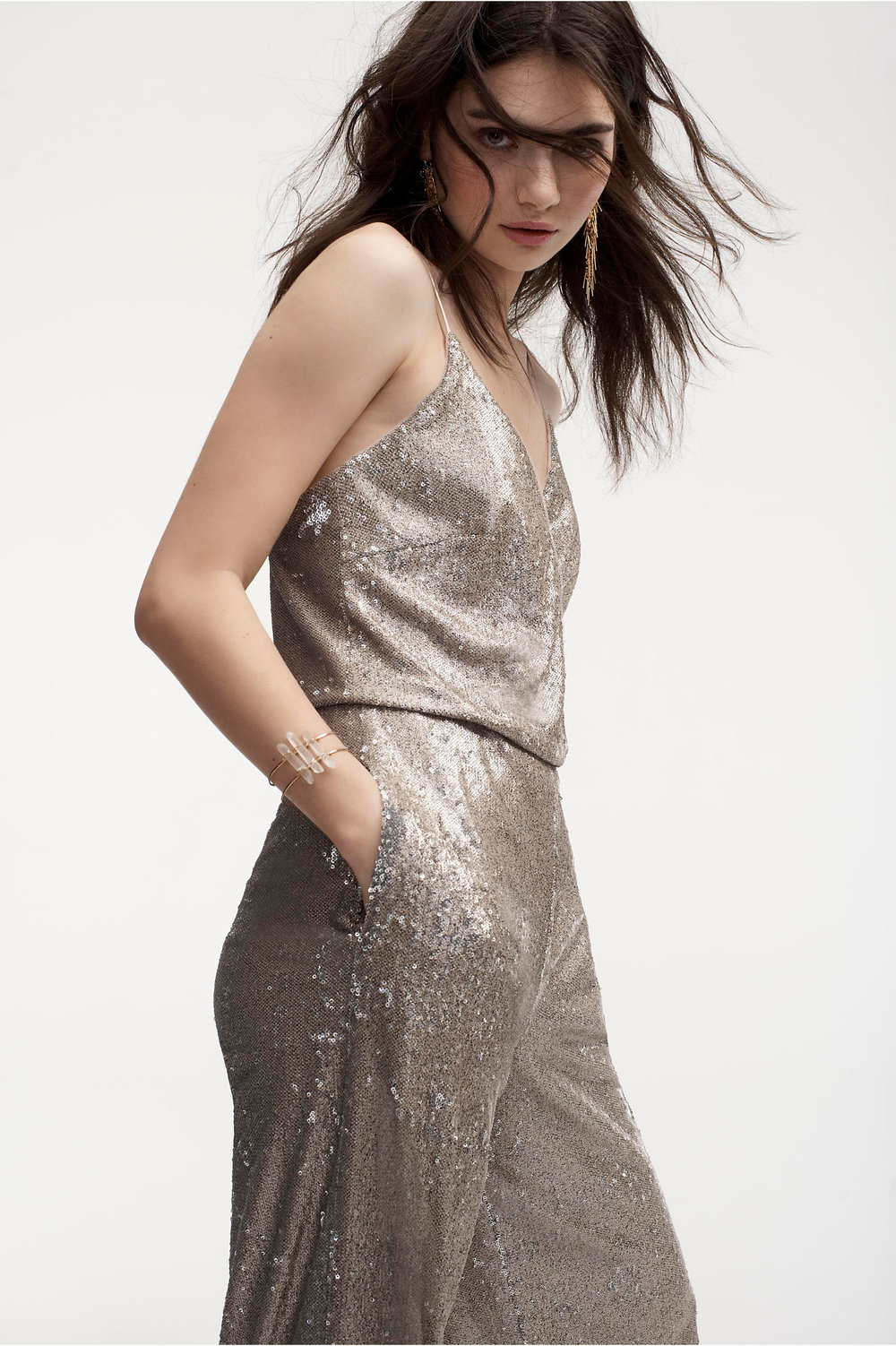 Gold sequin jumpsuit for sparkling bridesmaids