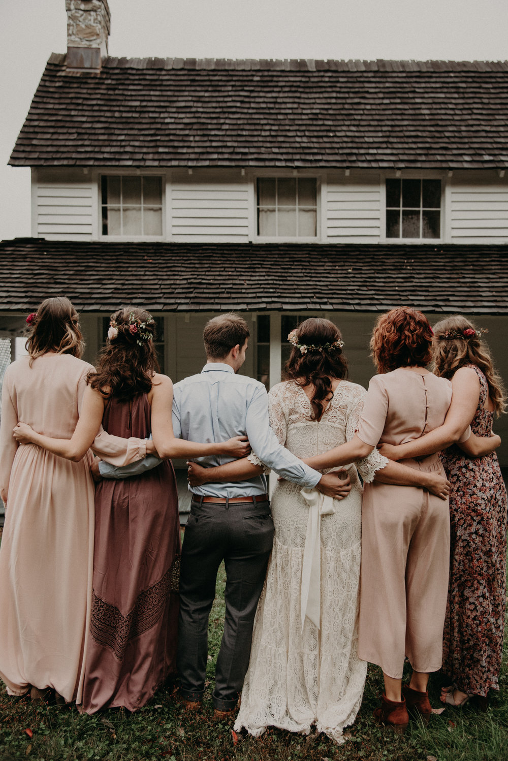 Bohemian eclectic bridal party at Craven House in Chattanooga, Tennessee