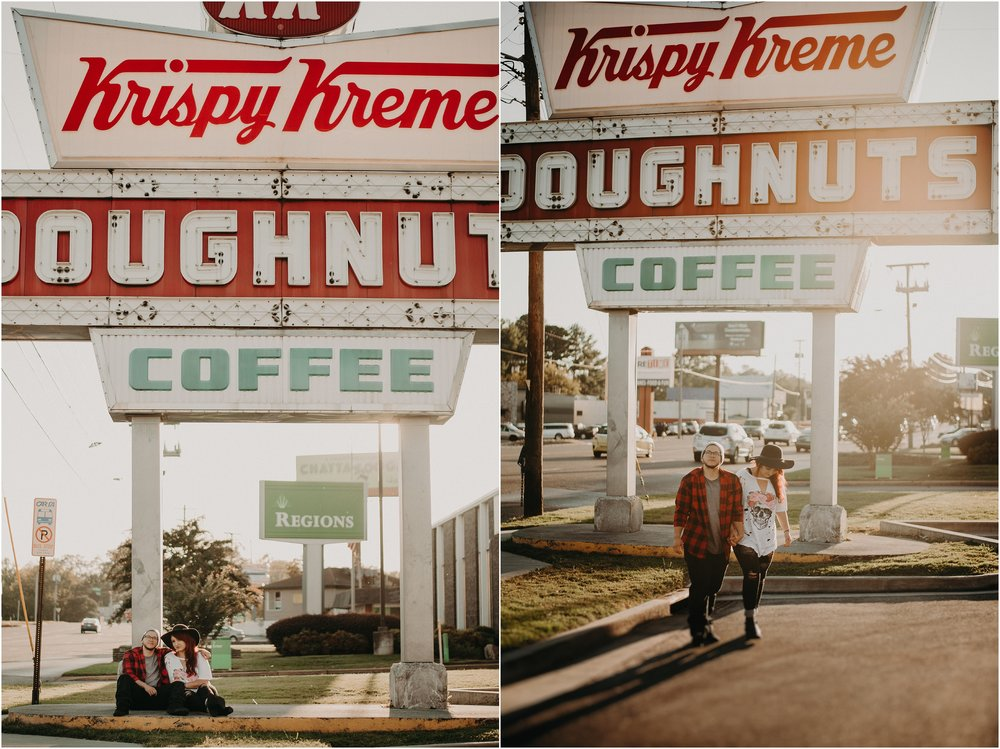 Krispy Kreme love story session with hip couple in parking lot