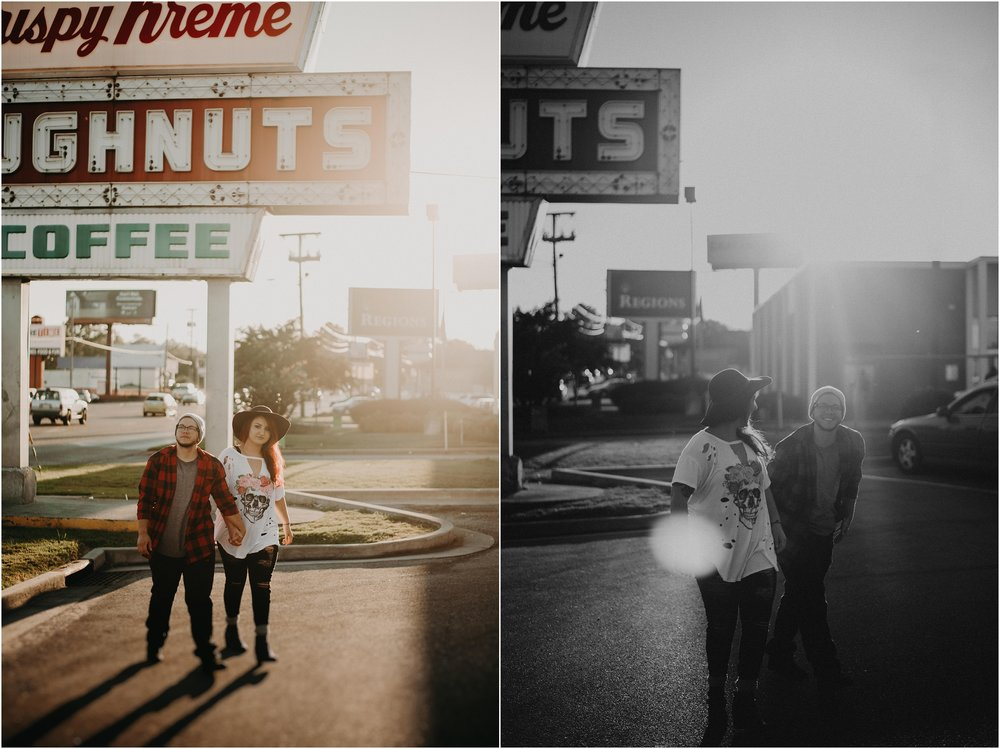 Couples dances in parking lot of Krispy Kreme at sunset in Chattanooga, Tennessee