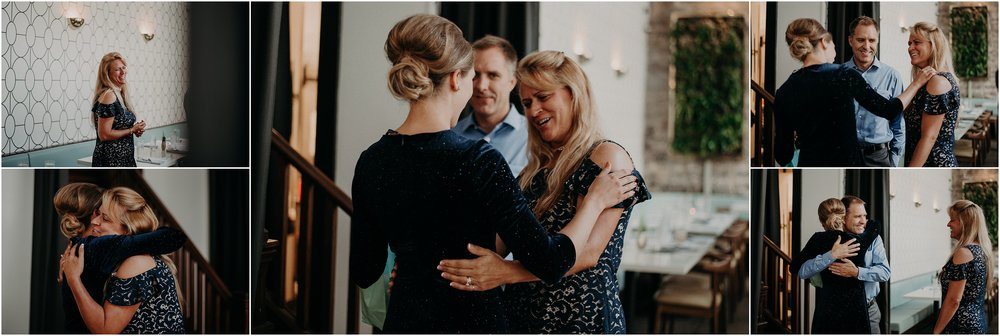 The Bride hugs her mother at her Rehearsal Dinner