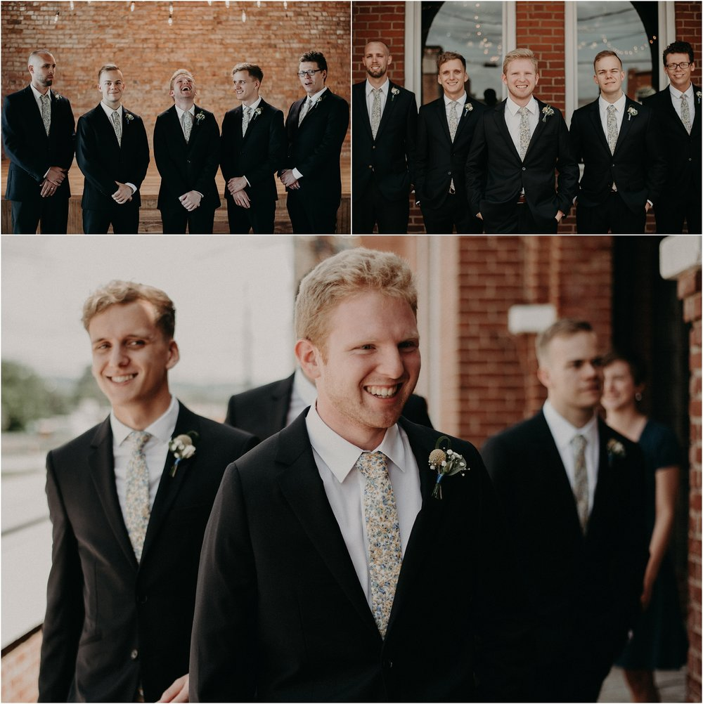 The groom and his groomsmen at the Church on Main