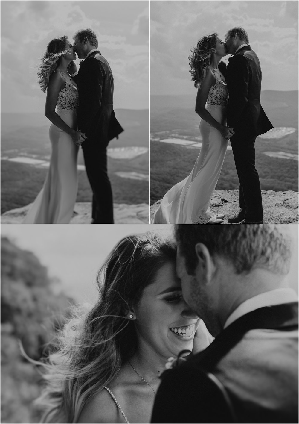 Intimate black and white images atop Sunset Rock of the bride and groom
