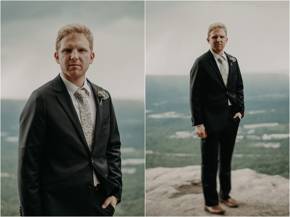 Groom portraits on Sunset Rock