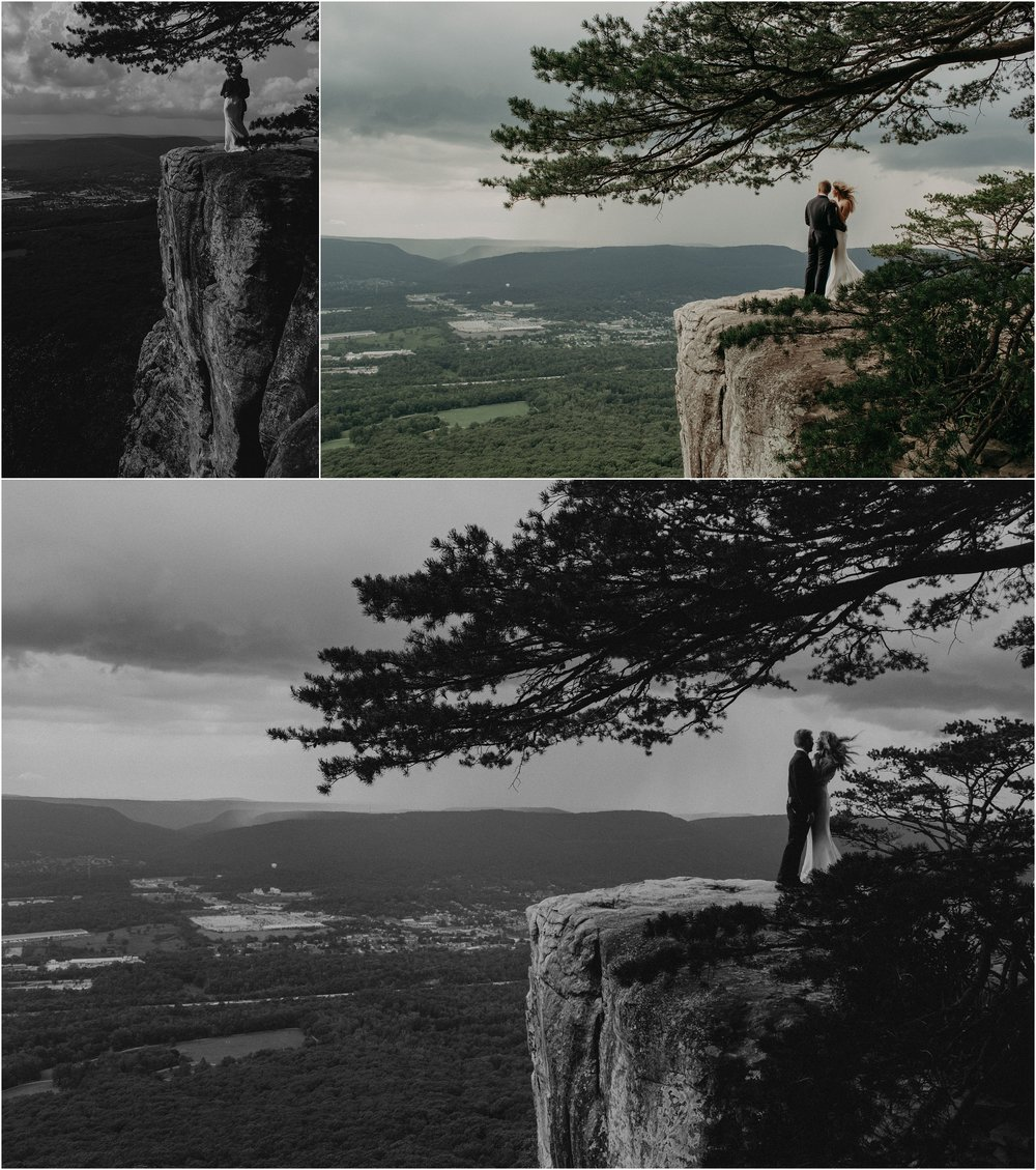 Cliffside portraits of bride and groom on Sunset Rock in Chattanooga, Tennessee