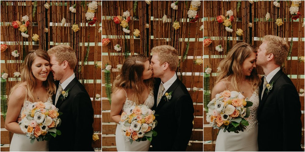 Photobooth images of the bride and groom with their Fox and Fern altar piece