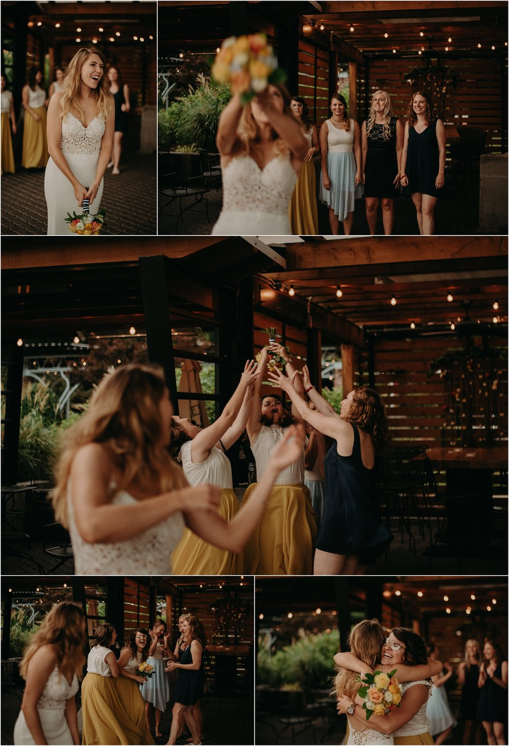 The bride throws her bouquet at the Flying Squirrel Bar wedding reception