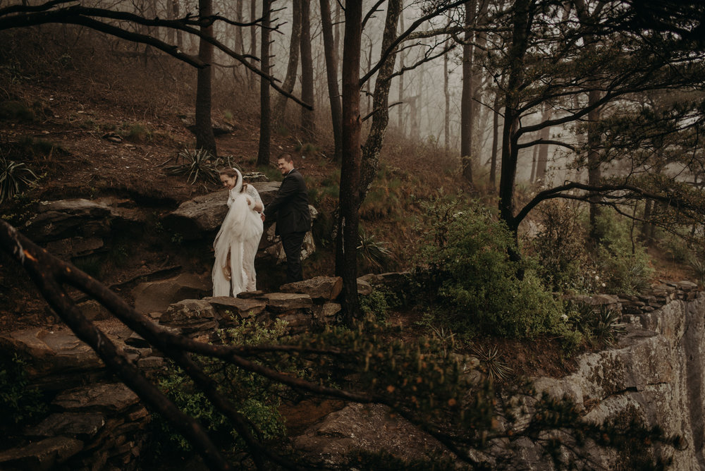 Foggy elopement on Sunset Rock in Chattanooga, Tennessee