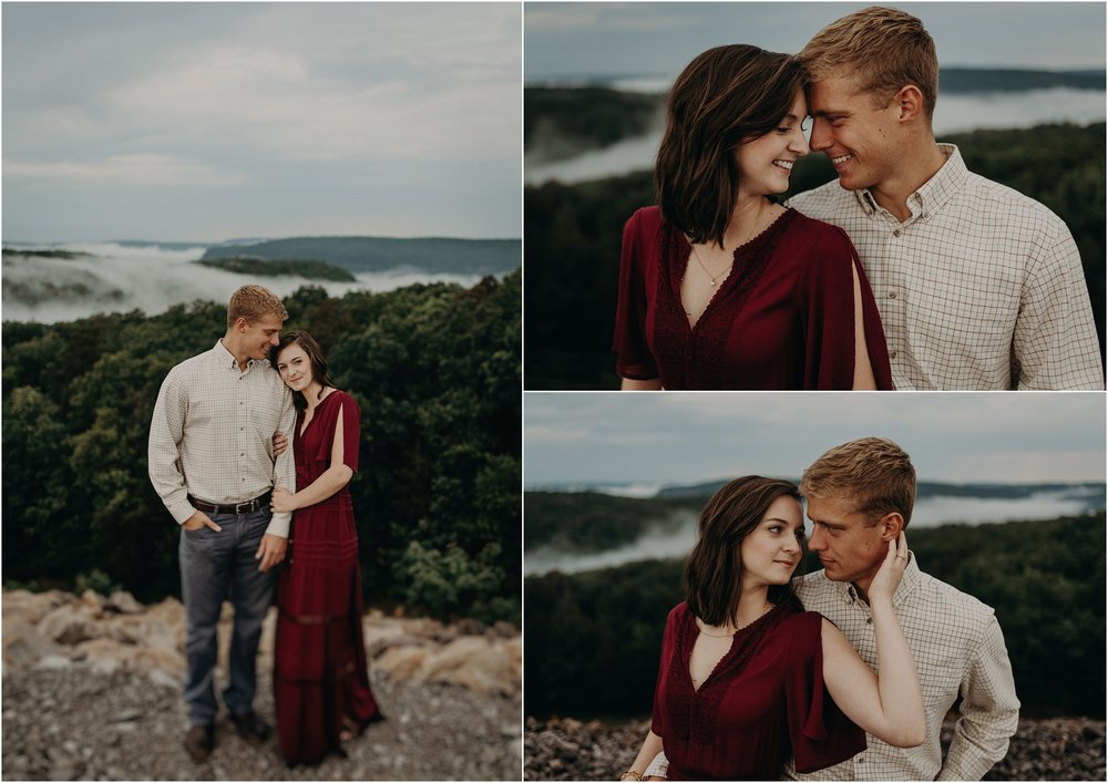 Summer engagement session in the Tennessee mountains with fog all around