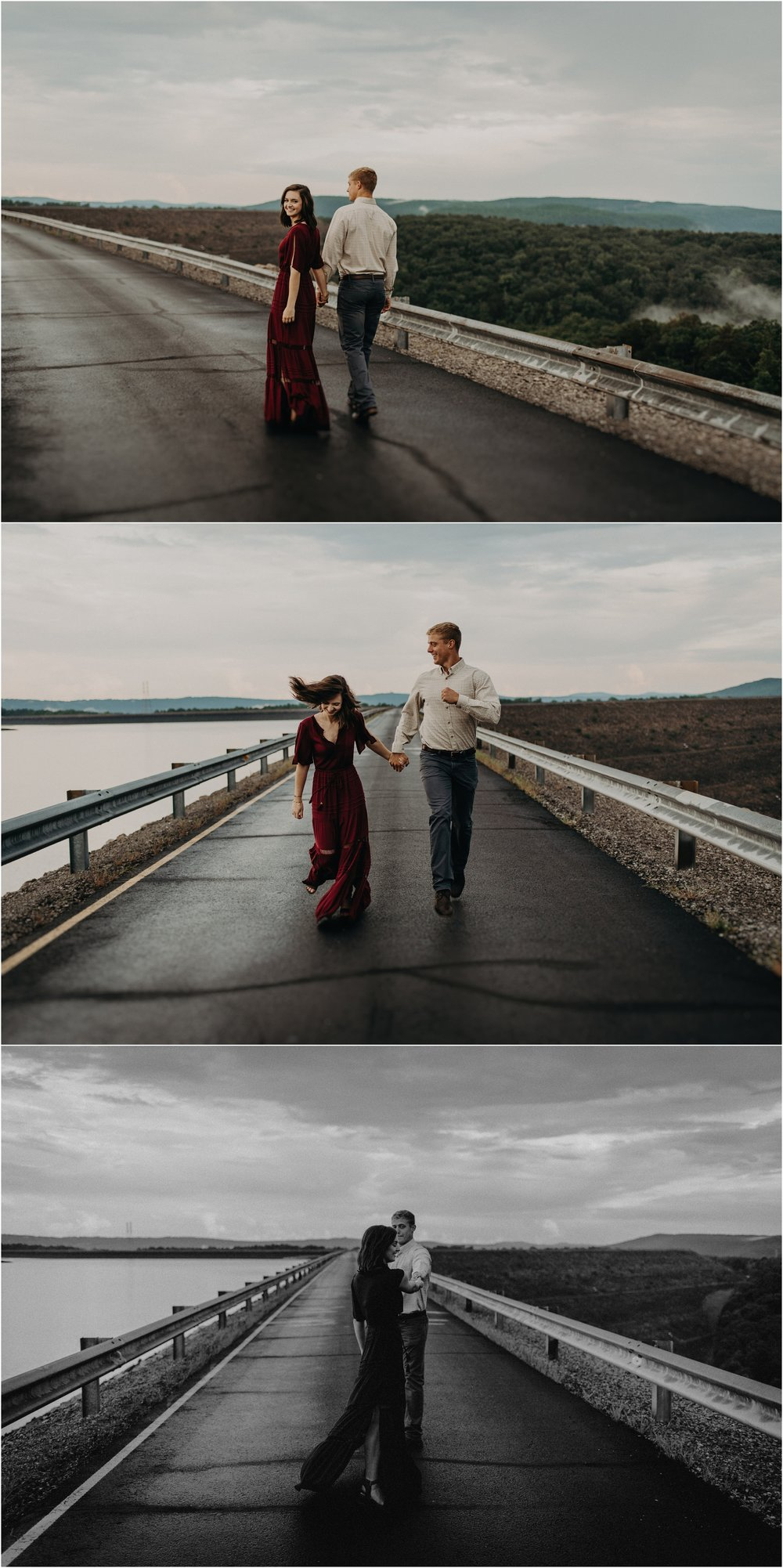 Couple dances in the middle of the road atop the Raccoon Mountain reservoir