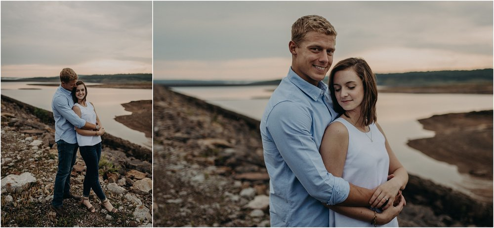 Blue hour engagement session at a mountain reservoir