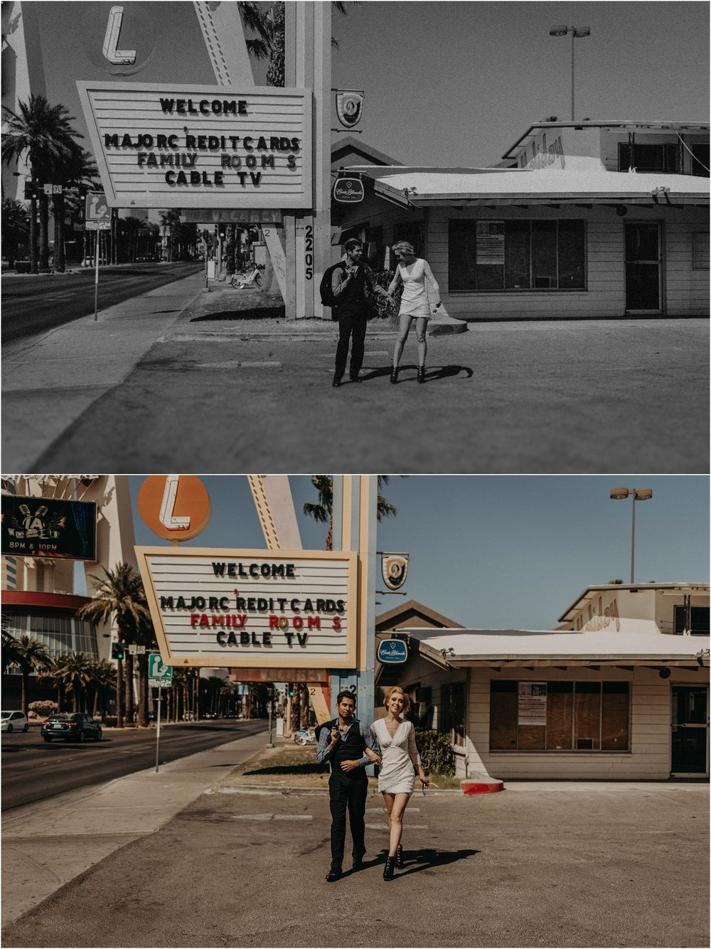 Vegas elopement couple poses outside abandoned Holiday Motel on Las Vegas Boulevard