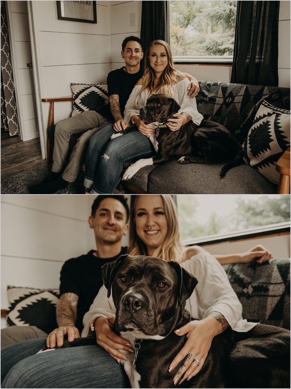 Married couple cozies up on their couch with their dog