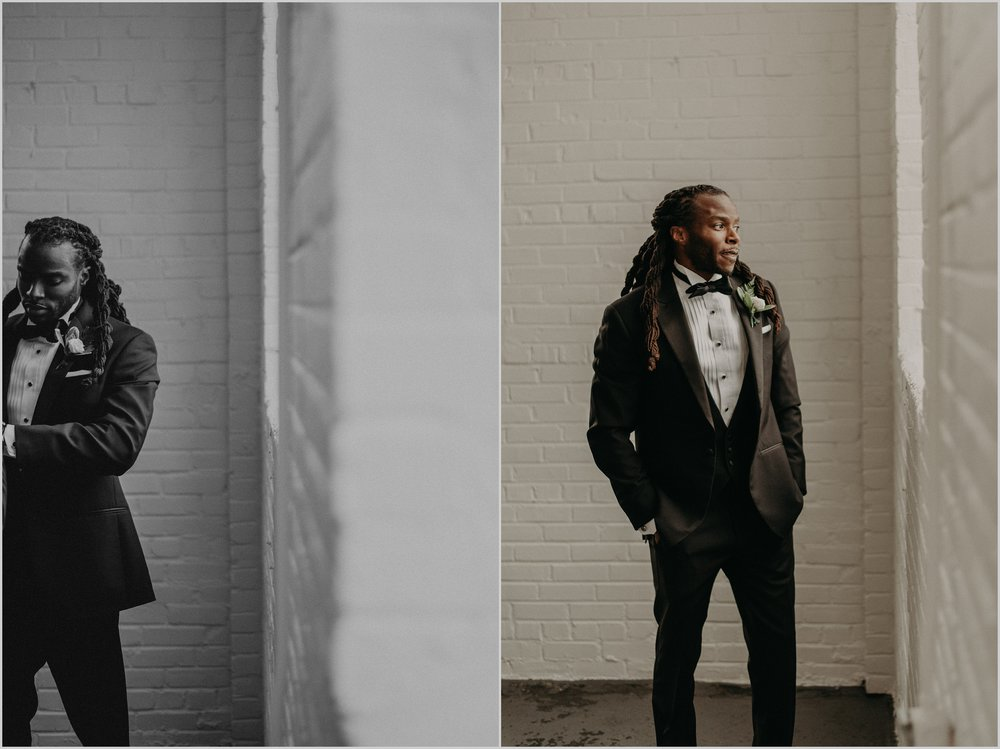White loft aesthetic for groom portraits