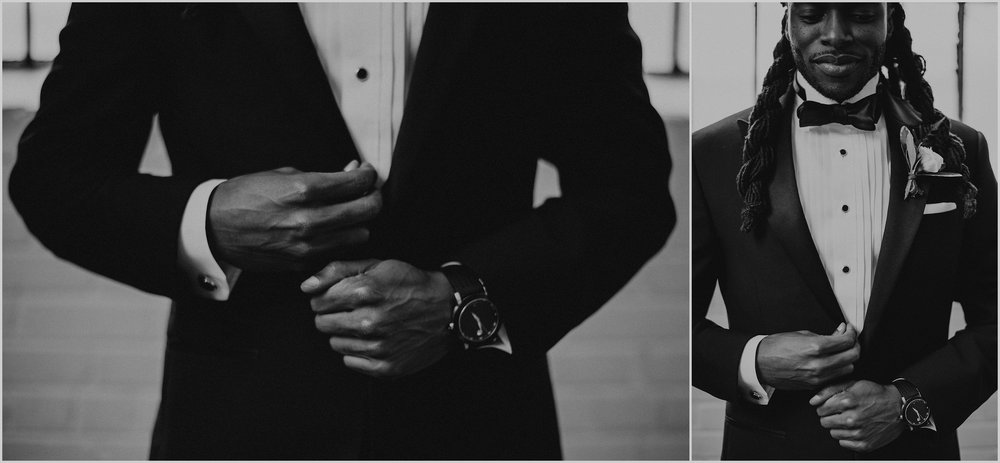 Grooms wear The Black Tux for this modern wedding inspiration